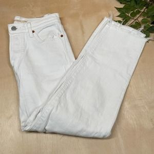 Levis Wedgie Straight High Rise Tapered White Wash Button Fly Jeans Size 26
